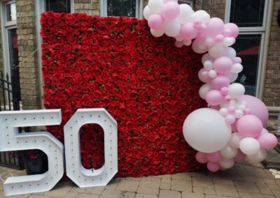 flower wall decor rental